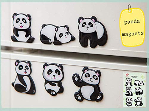 MORCART Panda Magnete Kühlschrankmagnete Set 6 Stück Lustige Dekorative Kühlschrank Magnete Fridge Refrigerator Magnets Nette Küche Eisen Schließfächer Büro Zubehör Kleinkinder und Erwachsene