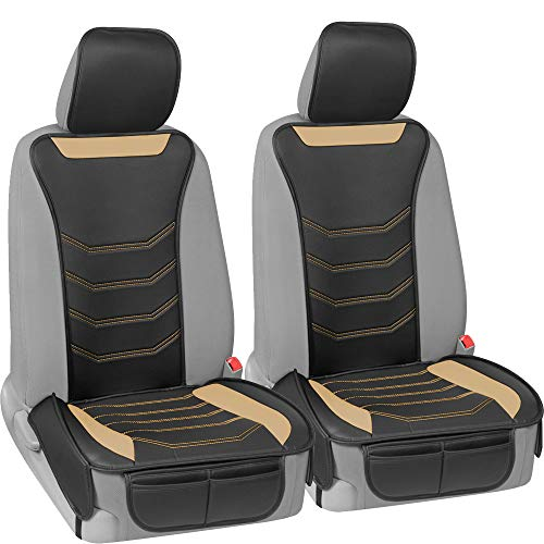 Motor Trend LuxeFit Beige Faux Leather Car Seat Cover for Front Seats, 2 Piece Set – Padded Universal Fit Luxury Cover, Faux Leather Sideless Protector for Car Truck Van & SUV (MTSC-9210-BG)