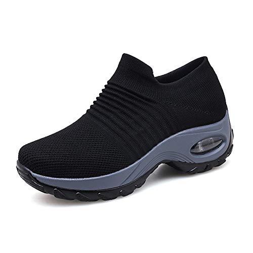 Zapatillas Deportivas de Mujer Gimnasio Zapatos Running Deportivos Fitness Correr Casual Ligero Comodos Respirable Negro Gris Morado 35-42 BK41