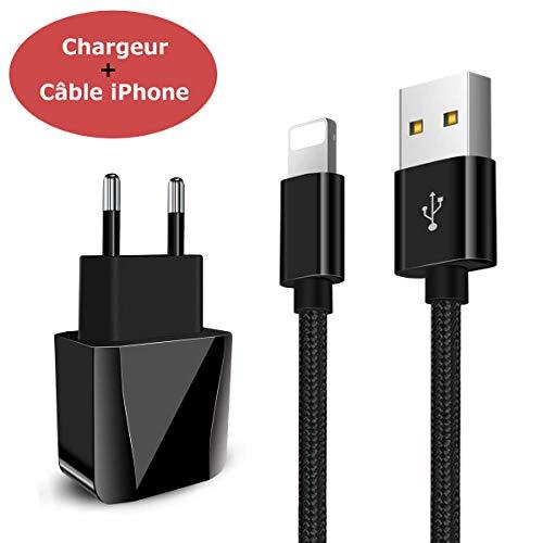 Chargeur Secteur USB 2 Ports Adaptateur USB Universel Mural Incluant Un Câble Chargeur Phone 2M pour Phone 8/8 Plus / 7/7 Plus / 6s / 6s Plus / 6/6 Plus, Pad 2/3 /4 Mini, Pad Pro Air etc (Noir)