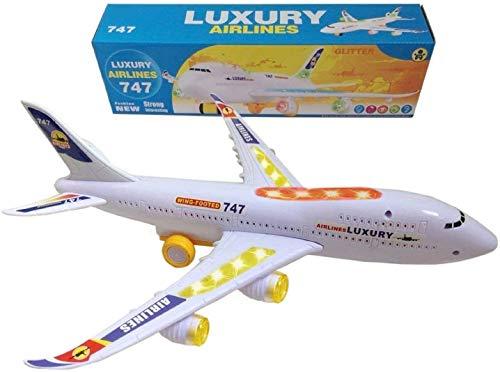 ToyZe Bump and Go Action, giocattolo aereo Boeing 747, con luci e suoni reali. TR-747