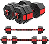 HTNBO 3 in 1 Adjustable Dumbbell Set, Set of 2, Free Weights Dumbbells with Connecting Rod, Lifting Dumbbells Used As Barbell, Push Up Bar for Home Gym, Whole Body Workout((66 LB)
