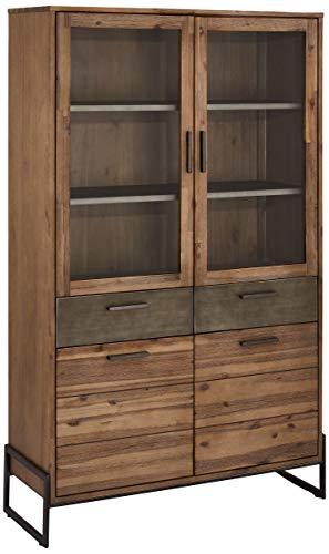 Ibbe Design Vitrine Vitrineschrank Braun Lackiert Massiv Akazie Holz Mallorca mit Glastüre und 2 Schubladen, 110x40x187 cm