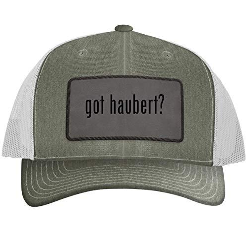 got Haubert? - Leather Grey Patch Engraved Trucker Hat Heatherwhite, One -