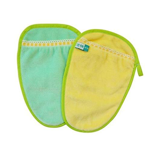 Topwon - Guantes de baño para bebés recién nacidos (2 unidades, color amarillo y verde)