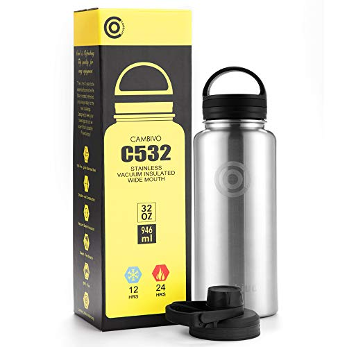 Price comparison product image CAMBIVO Water Bottle,  Double Vacuum Insulated Stainless Steel Thermos for Kids,  Sports,  Hiking,  Gym,  Driving,  and Travel with Two BPA Free Cap (32 oz,  Stainless)