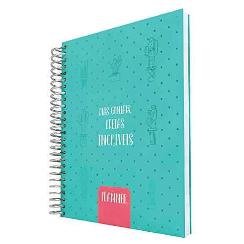 Planner Cacto A5 com 96 folhas Personalizadas, DAC, Planner Cacto A5 com 96 folhas Personalizadas 3011, AZUL