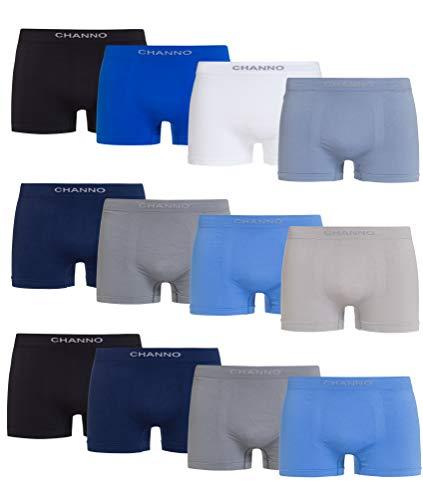 Channo Boxershorts aus Lycra, ohne Nähte, weich und bequem, 12 Stück, Mehrfarbig XXL