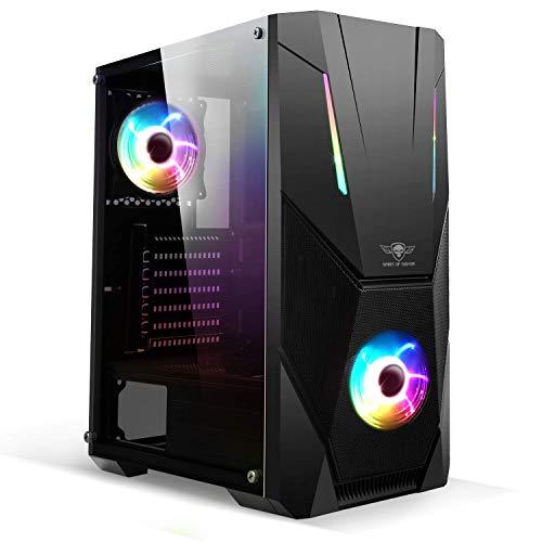 Spirit Of Gamer - Rogue V - PC Gaming Caja ATX/Matx/ITX - Vidrio Frontal Y Pared Templados - 2 Ventiladores LED RGB Direccionables 120 Mm - Compatible con Aura/MSI Mystic/ASROCK 3Pin (Rogue V)