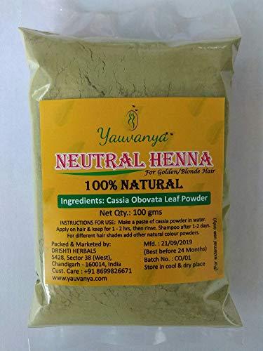 Yauvanya 100% pure poudre de cassia (henné neutre) - 3X100 g pour cheveux blond/doré