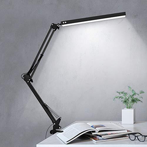Liraip LED Schreibtischlampe, 10W Architektenlampe,Verstellbarem Arm Faltbar,5V/2A USB-Kabel,Stufenloses Dimmen,Augenschutz,3 Farbtemperaturen,Geeignet für Büro, Lesen, Studieren