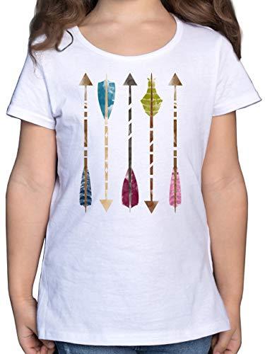 Up to Date Kind - Wasserfarben Pfeile - 152 (12/13 Jahre) - Weiß - Festival - F131K - Mädchen Kinder T-Shirt