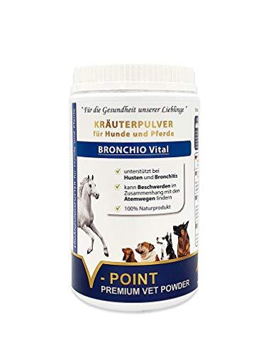 V-POINT BRONCHIO Vital bei Husten, Bronchitis und Beschwerden der Atemwege - sehr hoher Vitamin- und Mineralstoffgehalt - Premium Kräuter-Pulver für Pferde und Hunde, mit Schwarzkümmel