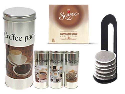 Senseo Cappuccino Choco + 4 Pad Dosen mit Motiven und 4 Padhebern