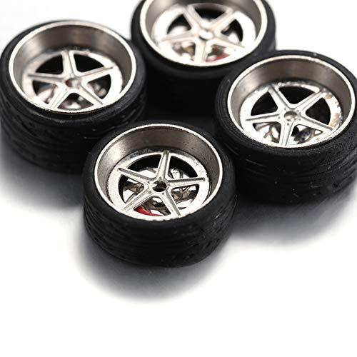 DishyKooker rc Spielzeug Auto 1/64 Legierung Automodell geändert Reifen Metall Radnabe (zufälliger Stil)