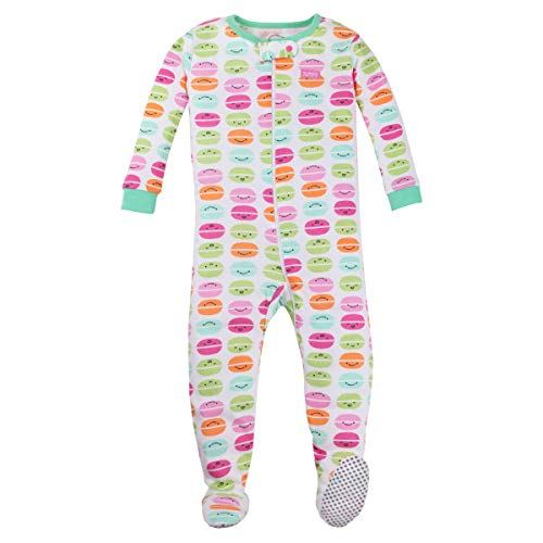 Lamaze Organic Baby Girls Stretchie One Piece Sleepwear, Baby and Toddler, Footed, Zipper, Multi-Color Smiley Faces, 2T