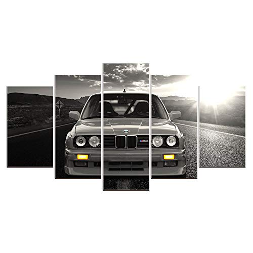 Karen Max Wandbild auf Leinwand, Ölgemälde, 5 Teile, BMW M3, Sportwagen, Landschaft, Heimdekoration, Poster Artwork Home Gifts Size 2:12x16inchx2,12x24inchx2,12x32inchx1NoFrame