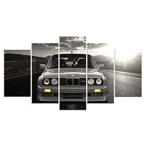 Karen Max Wandbild auf Leinwand, Ölgemälde, 5 Teile, BMW M3, Sportwagen, Landschaft, Heimdekoration, Poster Artwork Home Gifts Size 1:12x16inchx2,12x24inchx2,12x32inchx1...