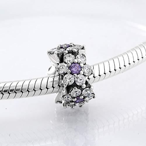 CHWDB 100% Plata de Ley 925 No me Olvides Spacer Beads Charm fit Pulsera Original Fabricación de Joyas
