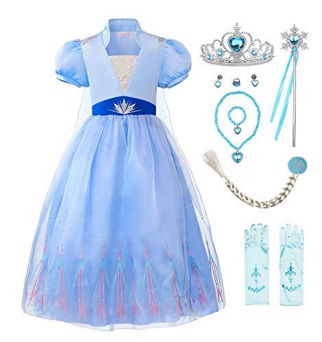 ReliBeauty Costume Elsa Frozen Bambina Vestito Principessa Bambina Carnevale Cosplay,6-7 Anni (110),con Accessori