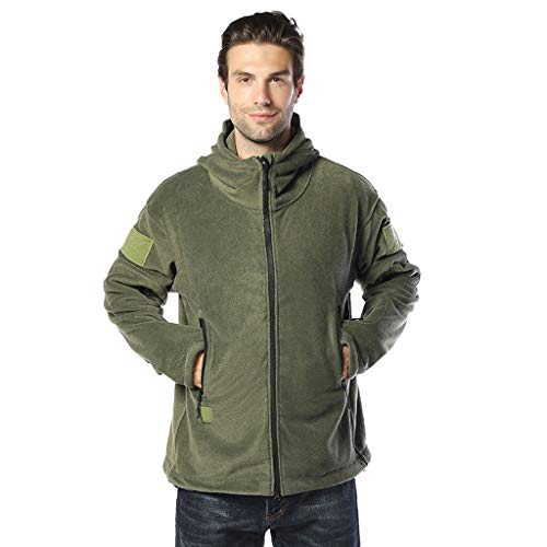 MAYOGO Herrenjacke Flanell Jacke Herren Fleece Jacke Solid Kapuzenjacke Sweatjacke Hoody Jacke Übergangsjacke Herren Freizeitjacke (Armee Grün, 3XL / EU:42)