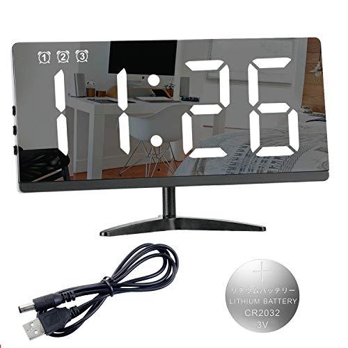Reloj Despertador Digital,LED de Números Grandes Superficie de Espejo de Alarma de 3 Grupos Repetición 3 Niveles de Brillo/Volumen Puerto de Cargador USB Ajustable Dormitorio Sala de Estar Oficina