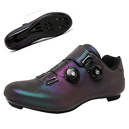 Zapatillas Ciclismo Hombre,Zapatillas MTB Adulto Cycling Shoes Hebilla De Zapato Giratoria Respirable Calzado Ciclismo/Zapatos con candado para Bicicleta de Carretera,Azul,45