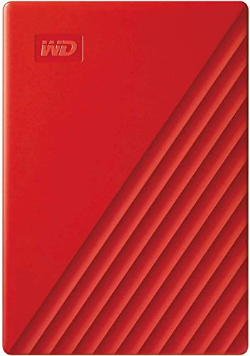 WD 2 TB My Passport disco duro portátil con protección con contraseña y software de copia de seguridad automática, Compatible con PC, Xbox y PS4, color Rojo