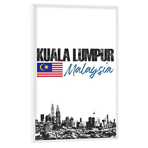 artboxONE Poster mit weißem Rahmen 30x20 cm Städte Kuala Lumpur minimalistisch - Bild Malaysia City Flagge