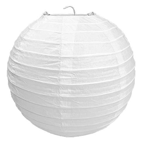 Puwind Pantalla para lámpara de papel de bambú, estilo acanalado, 30 cm, forma redonda, para decoración de luz del hogar, color blanco