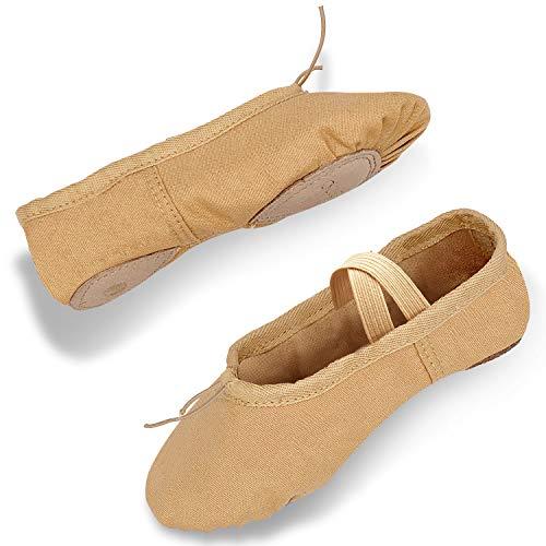 DIPUG Ballet Shoe Ballet Slippers for Girls Toddler Canvas Dance Shoe (Toddler/Little Kid/Big...