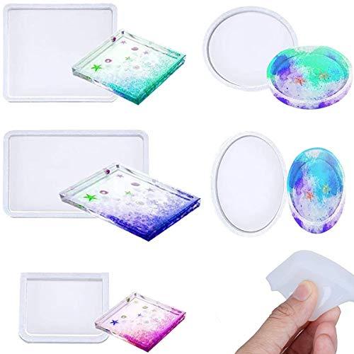 Binjor 10Pcs tampi in Silicone resina per Sottobicchieri Fai-da-Te Stampi resina siliconica epossidica Trasparente Stampi Rotondi Quadrati Decorazioni per la Casa