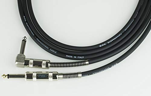 MPE - Cavo per strumenti chitarra basso tastiera Made in Italy professionale con 1 Jack Pipa Angolo 90° e 1 jack mono 6,3mm (5 MT)