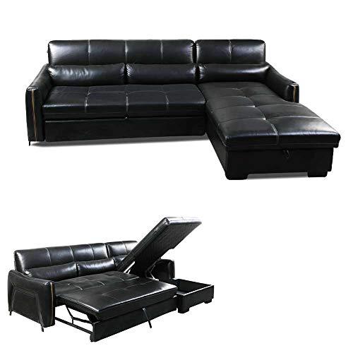 RSTJ-Sjcw 3 in 1 kompakte Sofakouch, Lounge/Schlafsofa in Leder mit Ausziehbett und großem Speicherplatz, Home Recliner Couch Home Wohnzimmermöbel, 277 * 168 * 86 cm