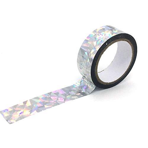 TopHomer Holografisches Glitzerband Washi Masking Tape Klebebänder Papierband Deko Kreative Dekobänder Aufkleber Kinder Klebeband aus Japanischem Papier für DIY Handwerk Supplies Scrapbooking