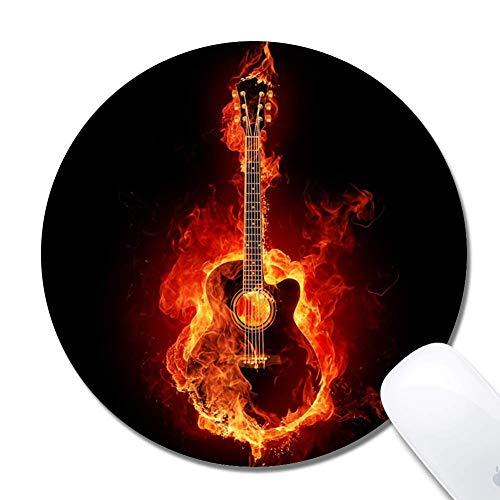 Brennende Gitarre Erweiterte ergonomische Gaming-Mauspad, Runde 200x3mm Mauspad Custom Design Gummi Runde 200x3mm Mauspad Brennende Gitarre