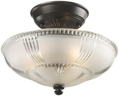 high quality Elk 66335-3 Restoration 3-Light Semi-Flush Mount, 9-Inch, Oiled Bronze, Frosted Glass popular With Clear online sale Highlights online