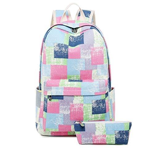 Mochila retro de la lona casual, mochila creativa de la impresión femenina de la mochila de la mano de la bolsa de la computadora de la mano de la mochila del viaje con la caja de la pluma Empresa de