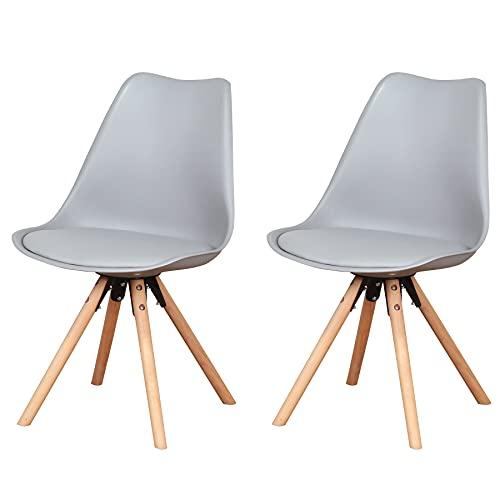 GrandCA HOME Silla Comedor Pack 4,Modernas Sillas Nordicas Escandinavo para Comedor,Salón,Cocina,Oficina (Gris-2 sillas)