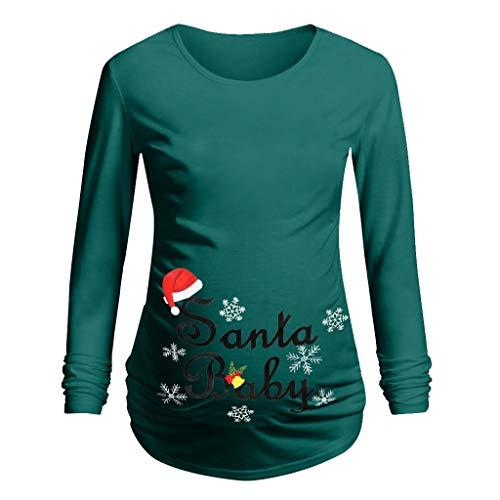 Umstandsshirt Weihnachten, Damen Schwangerschaft Pullover Langarm T-Sh