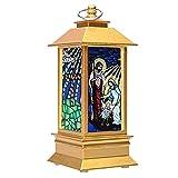 SOIMISS Weihnachten LED Sturm Laterne Kirche Jesus Muster simulierte kleine Öllampe