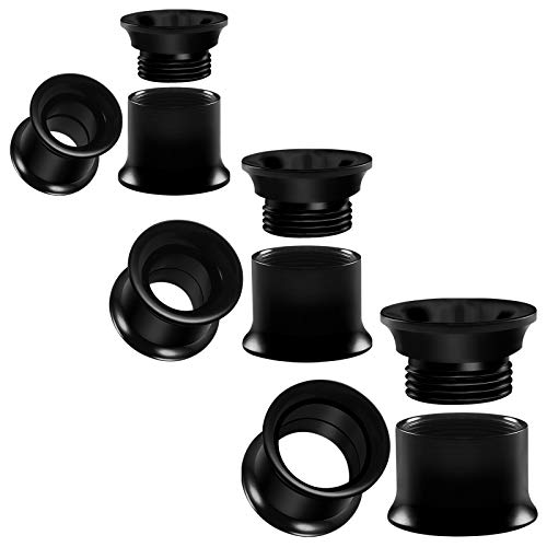 BIG GAUGES 3 Pairs Black Acrylic 0g 8mm 00 g 10 mm 1/2 12mm Double Flared Saddle Flesh Tunnel Screw Piercing Stretcher Ear Plugs BG3053