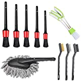 LABOTA 10 Pcs Auto Detailing Brush Set Includes 5 pcs Premium Detail Brush, 3 Pcs Wire Brush, 1 Air Vents Brush and 1 Car Dash Duster Brush for Cleaning Wheels, Interior, Exterior, Leather, Dashboard