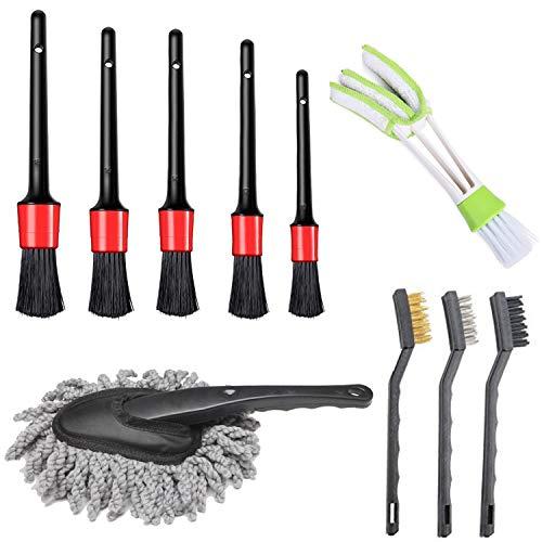 LABOTA brochas para detalles automáticos, cepillos de alambre, cepillo de ventilación y cepillo para limpieza de ruedas, interior, exterior, cuero, salpicadero