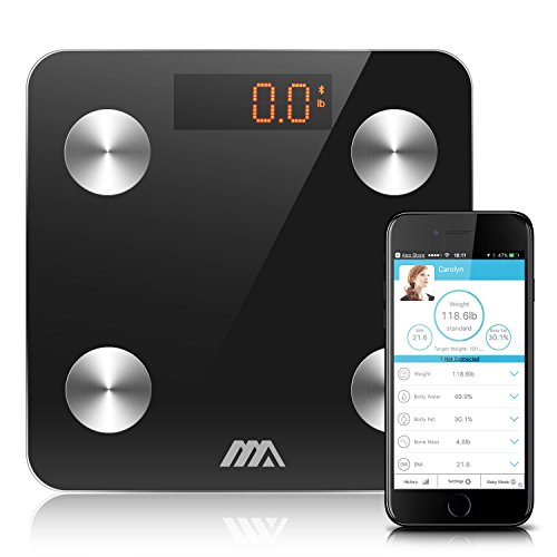 Adoric Life Bluetooth Body Fat Scale Smart Digital Scale with APP for Android and IOS, Tempered Glass Surface, Auto On/Off, Body Composition Monitor Measures Weight, Bone, Water, Muscle, Fat, BMI, BMR