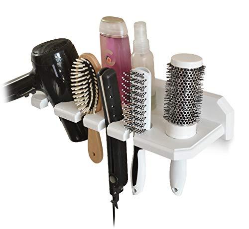 TESLYAR houten wandhouder voor de badkamer - opslag voor de föhn, plat ijzer, krultang, stijltang, borstels - wit