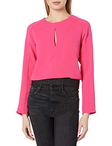 Armani Exchange AX Damen Scoop Neck Blouse with Keyhole Detail on Bust and Waistband Hemd, Bubble Gum, Groß