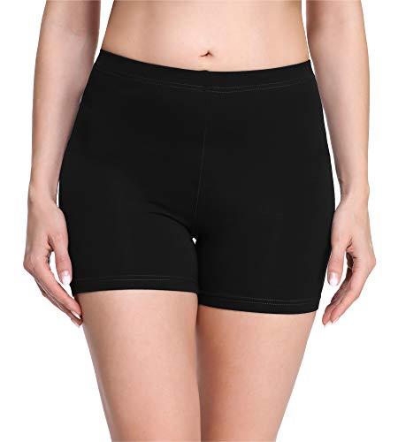 Merry Style Damen Shorts Radlerhose Unterhose Hotpants Kurze Hose Boxershorts aus Viskose MS10-283(Schwarz,L)