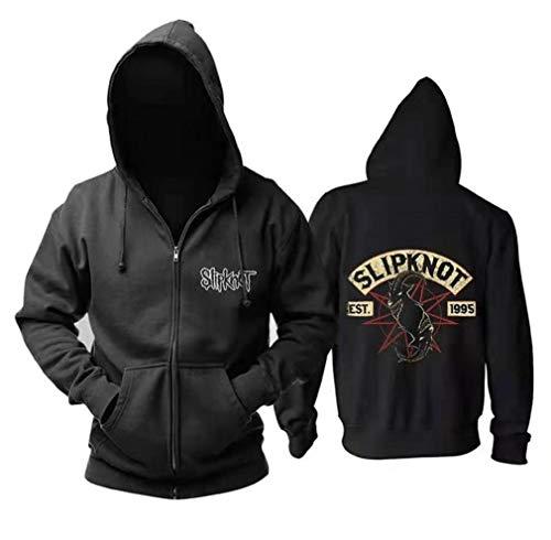 Cronell Story Herren Langarm Hoodie Dünn Samt Herbst Sweatshirt 3D Heavy Metal Band Slipknot Doppel Schaf Print Freizeitkleidung (1,XL)