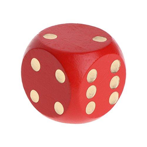 Manyo 1pcs Holz Würfel, leicht und tragbar, perfekt für Brettspiel, Club und Bar Spiel Tool, Familienspiel, Math Teaching. (silber) (Rot, 4 cm)
